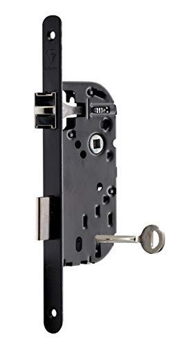 Vachette D226 - Cerradura empotrable con llave de 3 puntas, reversible, color negro, alta seguridad, cabecero de puntas redondas, eje de 40 mm, para puerta de dormitorio