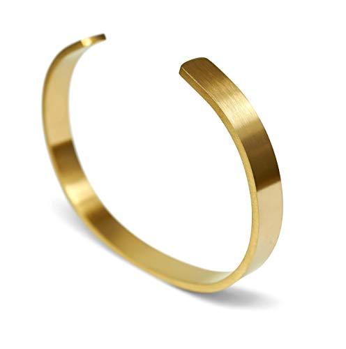 Sprezzi Herren-Armreif Edelstahl gold Modisch Fashion Armband aus massivem 316L Stahl größenverstellbar | minimalistischer Männer Schmuck aus Deutschland (matt, gold)