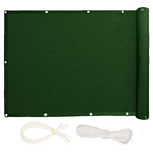 KANGLIPU Pantalla de balcón 0.75x9.5m Protección UV Resistente al Viento Pantalla para Balcón Jardín con Cables y Cuerdas para Jardín Balcón Terraza, Verde