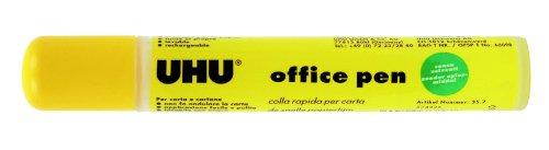 UHU Klebepen Office, Umweltfreundlicher und nachfüllbarer Papierkleber für Büro, Haushalt und Schule in Stiftform, transparent, 60 g