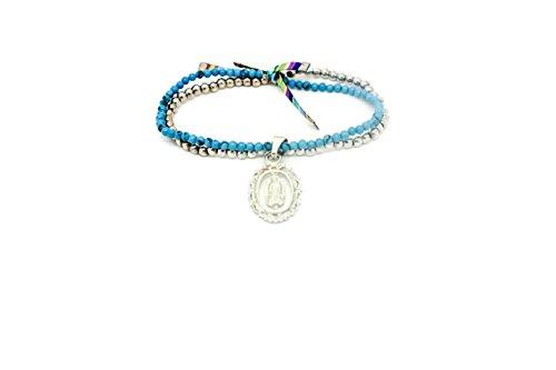 Kokomorocco Pulsera Medalla Virgen de Guadalupe de Plata de Ley, turquesas y Bolas de Plata Regalos Originales