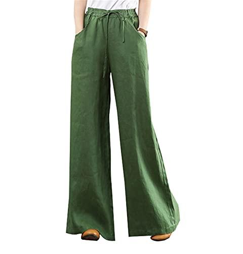 Liveinu Pantalón Ancho Mujer Pantalones de Lino Algodón con Cordón Elástica Casual Ocasionales Retro Pantaloens EU M = Tag XL Verde