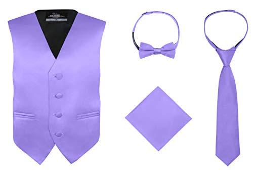 S.H. Churchill & Co. Boy's 4 Piece Vest Set, with Bow Tie, Neck Tie & Pocket Hankie, Purple Size 6