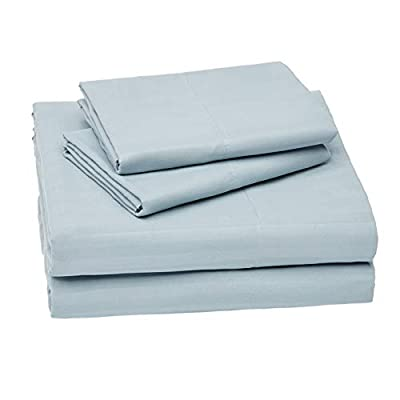 AmazonBasics Deluxe Microfiber Striped Sheet Set, Spa Blue, King
