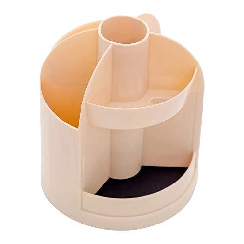 AOYATIMEペン立て 360度回転 オフィス収納 ペンケース ペンスタンド 鉛筆立て ブラスチック製ペンホルダー 収納ボッ 小物入れ 多機能卓上文房具 (茶色)