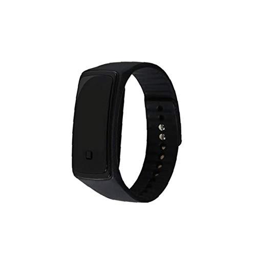 Berrywho Reloj Unisex del Reloj del LED Digital con Silicona Brazalete del Reloj del Deporte Impermeable para Niños Niñas Reloj Pulsera Negro (incluida la batería)