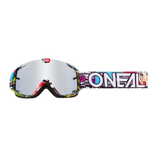 O'NEAL | Fahrrad- & Motocross-Brille | Kinder | MX MTB DH Downhill Freeride | Verstellbares Band, optimaler Komfort, perfekte Belüftung | B-30 Youth Goggle Crank | Schwarz Multi verspiegelt | One Size