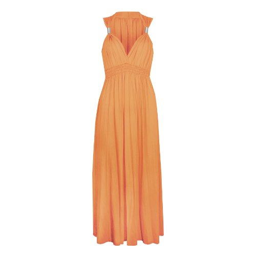 Ladies Long Stretch Womens Maxi Dress Coil Spring 1 Size (1 Size, Orange)