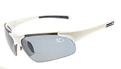 Eyekepper TR90 Unbreakable Sports Half-Rimless Bifocal Sunglasses Baseball Running Fishing Driving Golf Softball Hiking White Frame Grey Lens +1.5