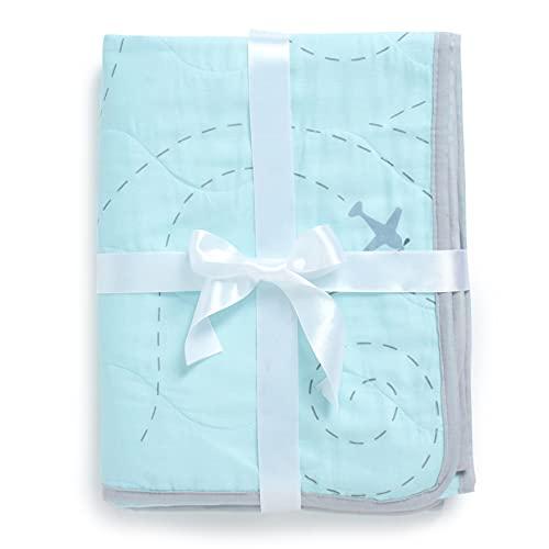 The White Cradle Orgánico La más suave manta/colcha para la cuna/camita, con 3 capas de tela suave, diseños reversibles, 2 caras Muselina impresa y centro de franela, 95 x 120 cm - Avión