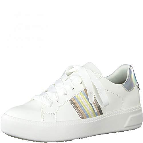 Tamaris Mujer Zapatillas, señora Bajo,Touch It,Plataforma de la Suela,Zapato bajo,Zapato de Calle,Cordones,Zapato Deportivo,White Comb,38 EU / 5 UK