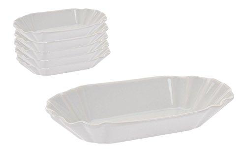 Spetebo Pommesschale in weiß aus Porzellan - 6er Set - Currywurstschale, Beilagenschale