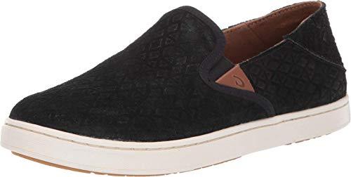 OLUKAI Women's Pehuea Leather Slip On Shoes, Black Kapa/Black, 5