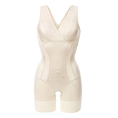 Women's Zero Feel Body Shaping Bodysuit,best High-waisted Seamless Tummy Control Underwear Knickers Butt Lifter Shapewear,Beige,L