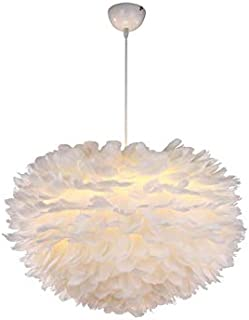 Modern Feather Pendant Light, E27 220V, White Feather Ceiling Pendant Light Shade, for Bedroom Kitchen Restaurant Living Room,80cm