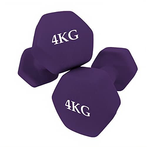 unycos - Set di 2 manubri - Esercizio Fitness - Pesi Corti - Anti-rotolamento - Antiscivolo - Esagonale | Allenamento a casa e Palestra | qualità Premium (4 kg)