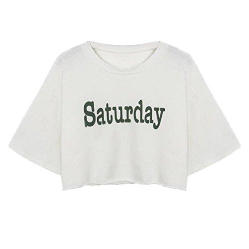 Moonuy Frauen Ernte T-Shirt Fashion Letter 'Saturday' Gedruckt Baumwolle Kurzarm Weiß O Neck Casual Tops Bluse Pullover (EU 38 / Asien L, Weiß)