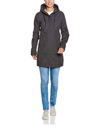 Tatonka Vinjo W's Hooded Coat - Kurzmantel  mit Kapuze - Größe 38 - figurbetont und aus PFC-freiem Baumwollmischgewebe - Regular Fit - dunkelgrau