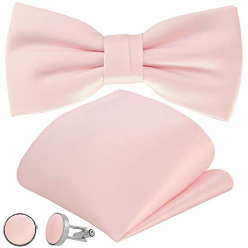 GASSANI 3-Set Fliegenset, Rosafarbige Herren-Fliege Einstecktuch Manschettenknöpfe, Bräutigam Hochzeitsfliege Anzug-Schleife Vorgebunden Taschentuch