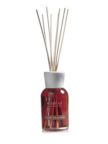 Millefiori 7DDSB Sandalo Bergamotto Raumduft Diffuser 250 ml Natural inklusive Stäbchen, Glas, Braun, 8 x 30.9 x 7.3 cm