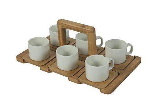 Villa d'Este Home Tivoli Essential - Juego de 6 tazas de café de porcelana con bandeja de bambú