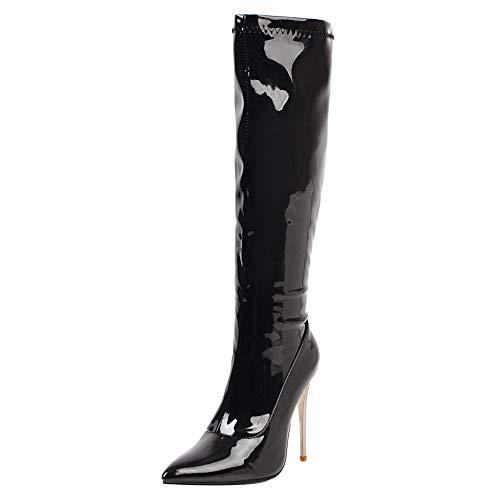 COOLCEPT Damen Elegant Stiletto Langschaft Stiefel Reißverschluss High Stiefel Pointed Toe Hochzeit Stiefel Black Gr 46 Asian