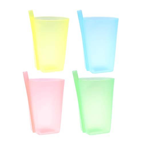 HEALLILY 4 vasos de paja de plástico para niños, color aleatorio