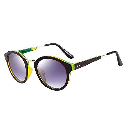 ZCFDDP Sonnenbrille Vintage Runde Sonnenbrille Frauen Retro Polarisierte Sonnenbrille Frauen Sommer Schatten Brillen Mit Fall SchwarzKaffee Grün