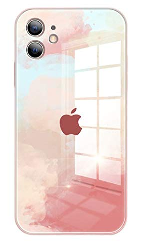 Svnaokr Funda de silicona compatible con iPhone funda, vidrio compatible con iPhone, silicona, protección integral funda para teléfono celular (rosa, piel iPhone 12)