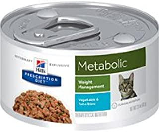 Hill's Pet Nutrition Metabolic Weight Management Vegetable & Tuna Stew Canned Cat Food, 2.9oz, 24 Pack Wet Food