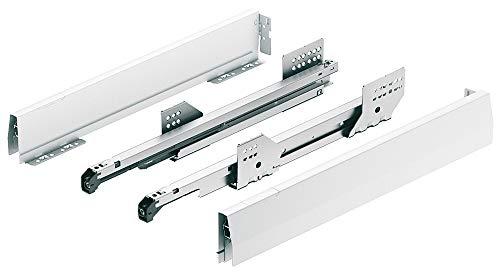 Schubladen-Schienen Vollauszug 550 mm MATRIX MX Schubkasten-System mit Dämpfung   Zargenhöhe 92 mm   Schubladensystem BOX weiß mit Überauszug   MADE IN GERMANY   1 Paar - Auszüge für Küchen-Schränke