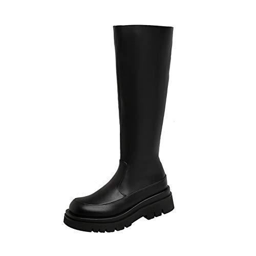 Botas Altas para Mujer, Botas Altas Plataforma De Punta Redonda, Cierre De Cremallera Lateral Otoño Invierno Botas Altas Cálidas, Zapatos Mujer De Gran Tamaño,Negro,42