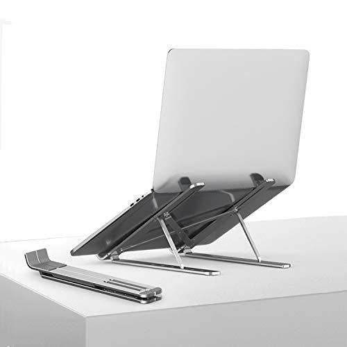 TKOOFN Supporto per Laptop Regolabile, Vassoi di Appoggio in Alluminio Pieghevole Ventilato leggero Portatile Multi-Angolo & Altezza per Notebook, Computer Portatile, tablet, iPad da 10-15,6 Pollici