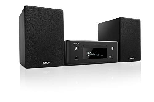 Denon CEOL N-10 Kompaktanlage, HiFi Verstärker, CD-Player, Internetradio, Musikstreaming, HEOS Multiroom, Bluetooth & WLAN, Alexa Kompatibel, 2 Optische TV-Eingänge, mit Lautsprecher, schwarz