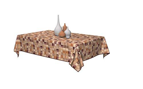 Capri Brand Tovaglia Plastificata Rettangolare Antimacchia Impermeabile Copritavolo in PVC Idrorepellente Lavabile con Bordino per Decorazioni Cucina, Giardino, Soggiorno (Quadri Beige, 140 x 240 CM)