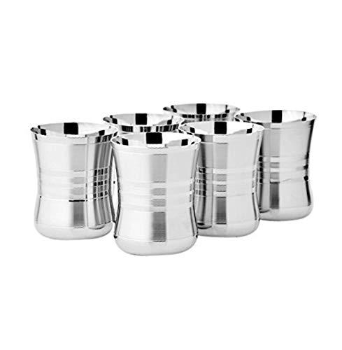 Vidya Steels Rbj Stainless Steel Tableware Drinkware Tumbler Drinking Glasses Set Of 6 Mirror Finish