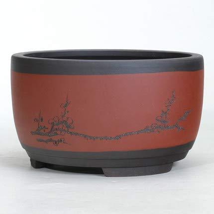 HONIC Bonsai Blumentopf Keramik Runde Großer mittlerer und Kleiner Bonsai-Topf Grünen Blumentopf Drum-förmige chinesischer Stil Lüftungs Basin: 01 Stil, Groß