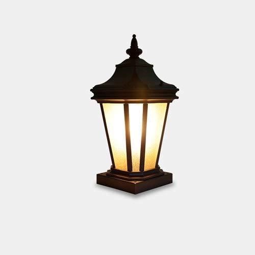 GOHHK Gartenleuchte im Freien, wasserdichte Zaunweglaterne 43 cm Klassische E27-Terrassenleuchte Regensichere Rostschutz-Haushalts-Aluminium-Glasdekor-Säulenlampe Retro-Landschaftstischbeleuchtung