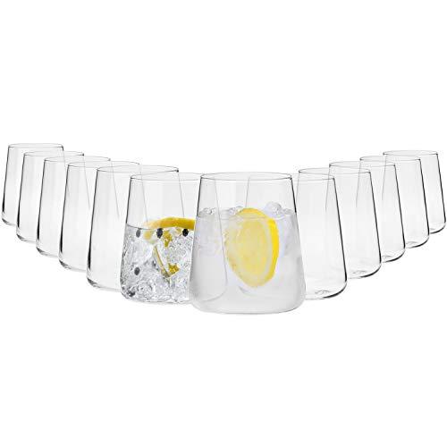 Krosno Gin Gläser Wassergläser Weißweingläser Trinkgläser   Set von 12   380 ML   Avant-Garde Kollektion   Perfekt für Hause Restaurants und Partys   Spülmaschinenfest und Mikrowellengeeignet