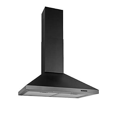Broan-NuTone Black Stainless Steel EW4836BLS Wall-Mount Chimney Range Hood with LED Lights, 400 CFM, 36-Inch