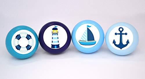 4er Set Holz maritim Möbelknöpfe mit Motiv Anker Leuchtturm Segelboot Schiff petrol hellblau mittelblau dunkelblau 35 mm rund Kinder Traum Kind