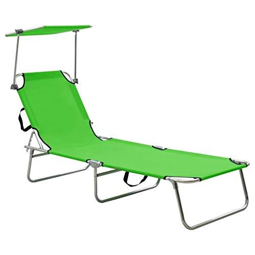 vidaXL Tumbona Plegable con Toldo Hamaca Jardín Patio Terraza Balcón Catre Militar Cama Camping Portátil Decoración Estable Duradera Aluminio Verde