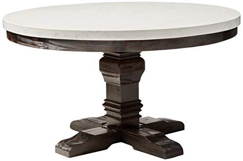 ACME Nolan Dining Table w/Pedestal - - White Marble & Salvage Dark Oak