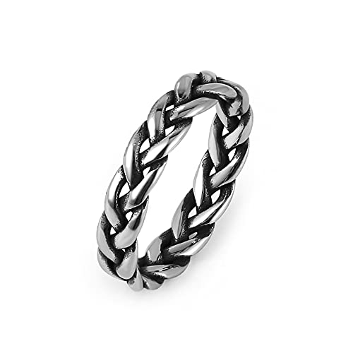 HZMAN Women 5mm Stainless Steel Vintage Celtic Knot Eternity Wedding Engagement Band Ring Size(Silver,9)