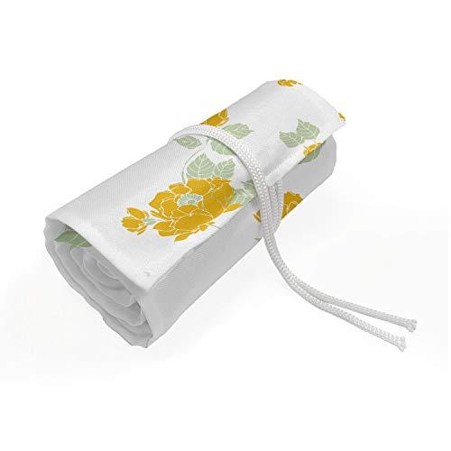 ABAKUHAUS Bloemen Etui met Rolomslag voor Pennen, Simplistische Gele Wilde Rozen, Duurzame & Draagbare Potloodetui, 72 Vakjes, Mosterd en lichtgroen