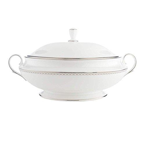 Lenox 6132302 Pearl Platinum Covered Vegetable Bowl, 4.9 LB, White