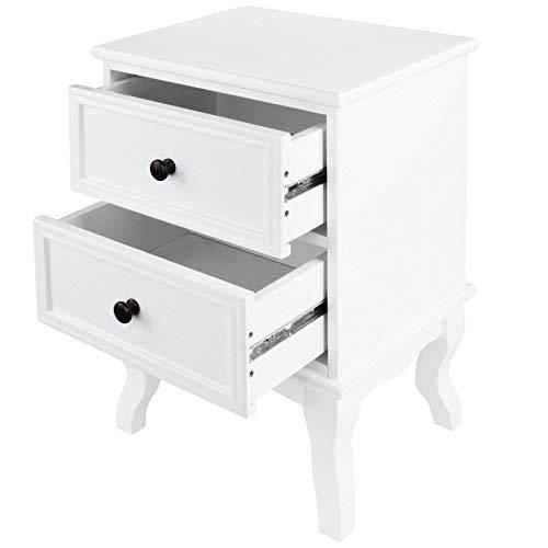 MIADOMODO® Nachttisch mit Zwei Schubladen - 50x34x29,5cm, 1er oder 2er, aus robuster MDF-Platte und Holz, Weiß - Nachtschrank, Nachtkommode, Nachtkonsole, Kommode, Ablagetisch für Schlafzimmer
