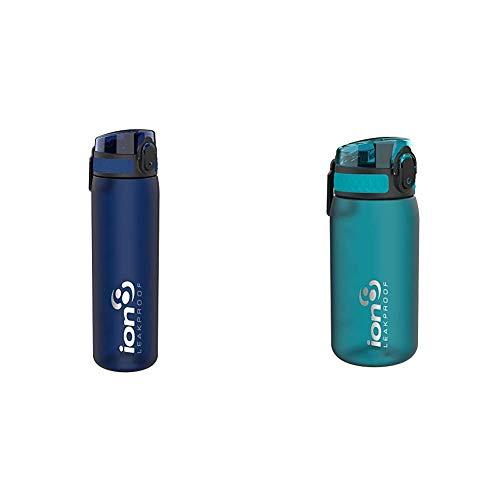 Ion8 Leak Proof Slim Water Bottle, Frosted Navy, 500ml & Leak Proof Kids' Water Bottle, BPA Free, 350ml / 12oz, Aqua