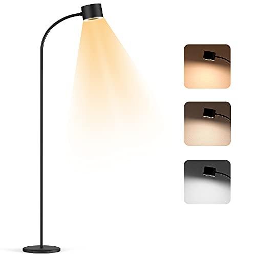 Lámpara de Pie LED Regulable Henzin, 3 Temperaturas de Color,12W 800LM Luz de Piso con Control Táctil de Lectura Regulable para Salón, Dormitorio, Long Lifespan High,Protección de Los Ojos,Negro