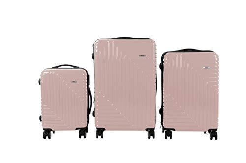 3 TLG TSA Kofferset IMEX Koffer Trolley HARTSCHALE POLYCARBONAT ABS GESCHÜTZES Design Model 3600 Gold